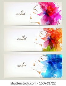 Set of Beautiful fashion women with abstract colorful flowers and blots.