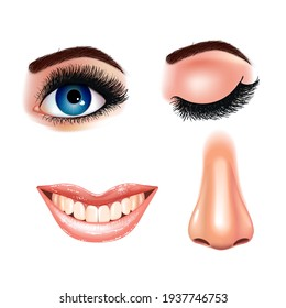 Set of beautiful female eyes with extended eyelashes and smiling mouth with glossy lips. Grinning teeth. White background. Realistic Vector illustration.