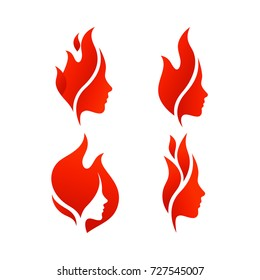 Set of Beautiful Female Faces with Flames. Vector Logo Template. Abstract Symbol Concept for Beauty Salon, Massage, Cosmetic and Spa.