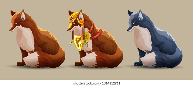 Set with a beautiful fighting foxes sits. A fox in beautiful golden armor, simple fox and dark fox. Fantasy animals. The wise fox looks ahead. Vector Cartoon character isolated
