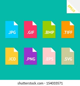 Set of beautiful flat icons with popular image file formats