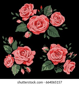 Set of beautiful floral elements for design. Isolated red roses on a black background.