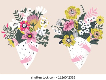 Set of beautiful flowers bouquets isolated on light background. Floral arrangement. Vector illustration.