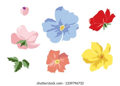 Set of beautiful flowers of violet, pink, yellow, red, coral color. Blooming dog roses with leaves, buds, isolated on white background. Floral design elements. Vector illustration.