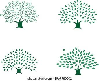 Set of beautiful four green oak tree logo identity