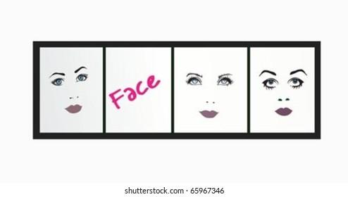 Set of beautiful girl faces