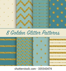 Set of beautiful golden glitter patterns for different festive designs