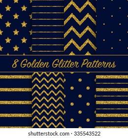 Set of beautiful golden glitter patterns on dark blue background for different festive designs