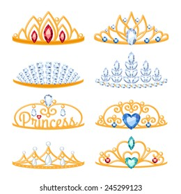 Set of beautiful golden tiaras with gemstones. Cartoon style. Jewelry collection.