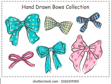Set of beautiful graphic bows. Hand drawn bows collection. Vector illustration.