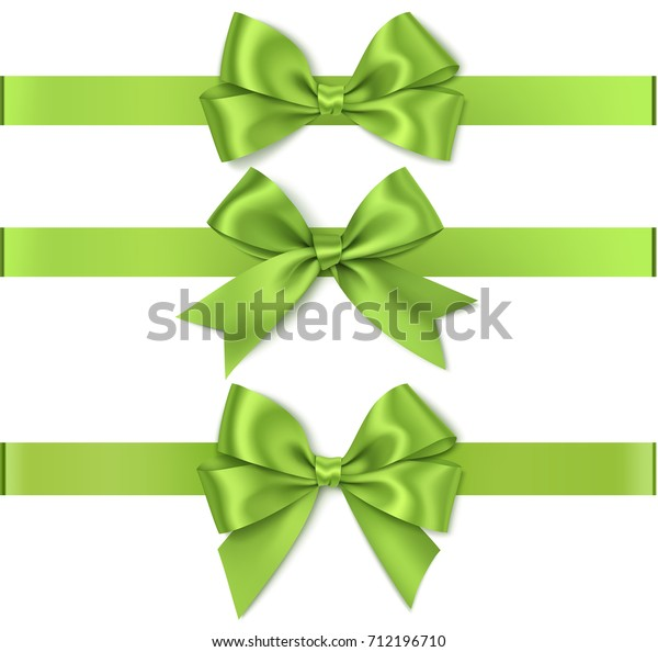 Set of beautiful green bow for holiday decoration.Vector bow with horizontal ribbon isolated on white