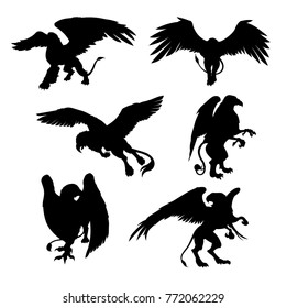 Set of beautiful gryphon icon in black color. Vector illustration in flat style isolated on a light background useful for logo, sign, emblem or symbol graphic design. Mythical creatures collection.