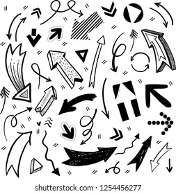 Set of beautiful hand drawn arrows in different styles. For notes, presentations, pointers, background