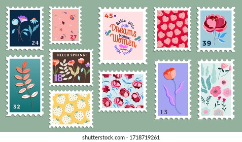 Set of beautiful hand-drawn post stamps. Variety of modern vector isolated post stamp designs. Floral post stamps. Mail and post office conceptual drawing.