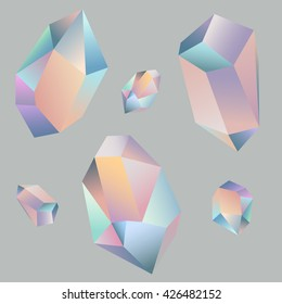 Set of beautiful holographic crystals on simple background. Vector illustration. Diamond gem shape holographic chameleon facet. Geometric crystals.