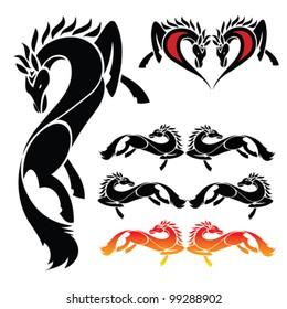 Set of beautiful horse tattoo - vector illustration