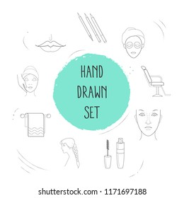 Set of beautiful icons line style symbols with mascara, towel, face mask and other icons for your web mobile app logo design.