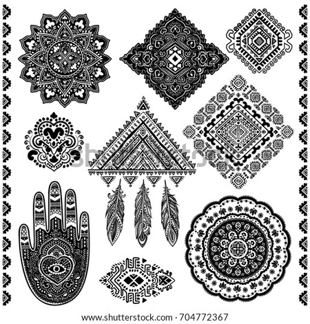 Set Beautiful Indian Ethnic Ornaments Tribal Stock Vector Royalty