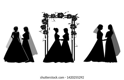 Set of Beautiful lesbian couple in white wedding dresses and flowers ornament. Same-sex family. Gay marriage. For wedding invitation, Save the Date cards, rsvp etc