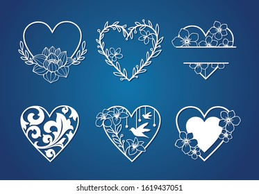 Set of beautiful monogram love with floral decoration