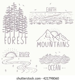 Set with beautiful nature, mountains and forest, river, field and ocean. Hand drawn sketch. Stylish vector illustration