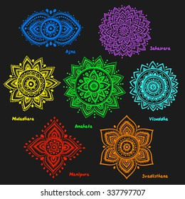 Set of beautiful ornamental 7 chakras
