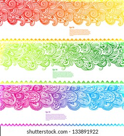 Set of Beautiful paisley banners