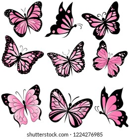 set of beautiful pink butterflies, insect vector