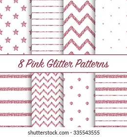 Set of beautiful pink glitter patterns for different festive designs