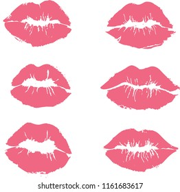Set of beautiful pink lips print on white background