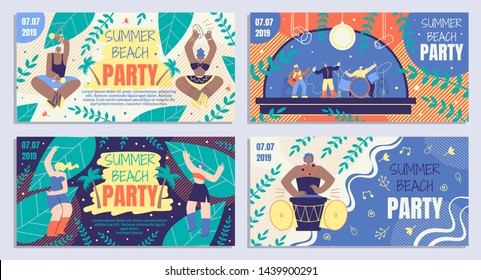Set Beautiful Poster Summer Beach Party Cartoon. Coupon for Summer Party or Concert Musical Group. Beach Party Invitation Banner. Girls Dancing at Night in Sand. Vector Illustration.