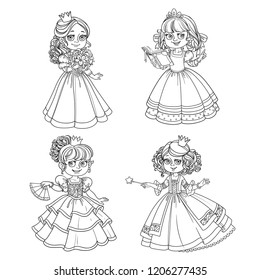 Set of beautiful princesses with flowers, a book, a fan and a magic wand outline for coloring isolated on white background