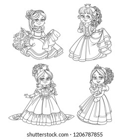 Set of beautiful princesses with rose, a kitten and embroider on the hoop outline for coloring isolated on white background