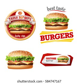 Set beautiful realistic icons of fast food