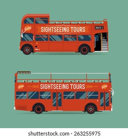 Set of beautiful red double decker open top sightseeing and city visiting buses | Metropolitan public transport illustration touristic buses with no roof