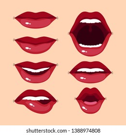 Set of beautiful red lips with different expressions - vector