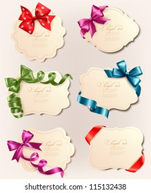 Set of beautiful retro labels with colorful gift bows with ribbons. Vector illustration.