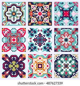 Set with Beautiful seamless ornamental tile background. Vector illustration can be used for desktop wallpaper or frame for a wall hanging or poster,for pattern fills, surface textures, textile.