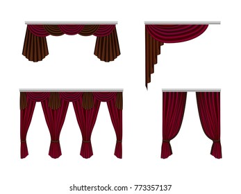 Set of beautiful, silk, velvet curtains. Decorative interior items, realistic curtains. Red curtains for a theatrical scene with highlights and shadows. Vector illustration isolated.