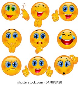 Set of Beautiful Smiley Faces / Emotional Icons. 3D Vector Illustration