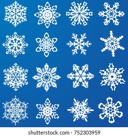 set of beautiful snowflakes. Vector
