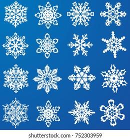 set of beautiful snowflakes. Vector