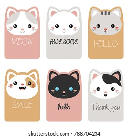 Set of beautiful template card for greeting, decoration, congratulation, invitation. Cards decorated cat faces.
