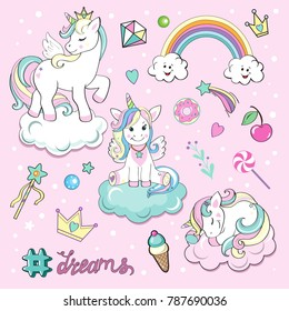 Set of beautiful unicorns on the clouds