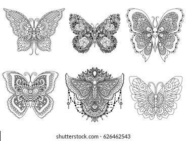 A set of beautiful unique butterflies for design element and adult or kids coloring book page. Vector illustration