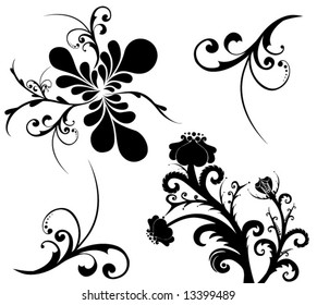 Set of beautiful vector patterns on a white background