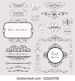 Set of beautiful vintage calligraphic swirls,borders and frames with place for text