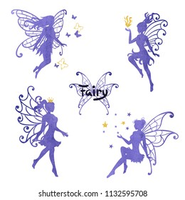 Set of beautiful watercolor fairy isolated on white. Vector illustration.