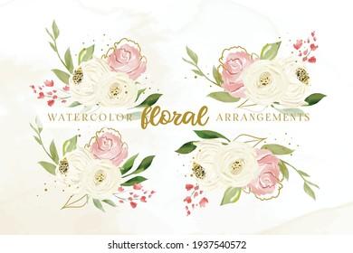 Set Of Beautiful Watercolor Floral Arrangements Template