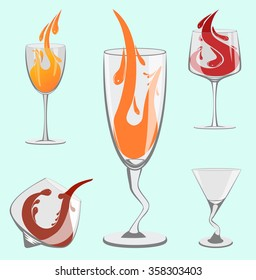 Set of beautiful wine glasses for the bar